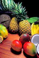 Island fruits: pineapple, banana, coconut, watermelon, orange, papaya and mango