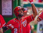 27 July 2013: Washington Nationals outfielder Denard Span returns to the dugout after hitting a solo home run against the New York Mets at Nationals Park in Washington, DC. The Nationals defeated the Mets 4-1. Mandatory Credit: Ed Wolfstein Photo *** RAW (NEF) Image File Available ***
