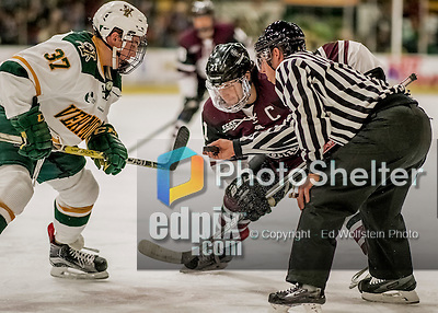 18 December 2016: Union College Dutchman Forward and Team Captain Mike Vecchione, a Senior from Saugus, MA, takes a first period face off against the University of Vermont Catamounts at Gutterson Fieldhouse in Burlington, Vermont. The Dutchmen defeated their former ECAC hockey rivals 2-1, sweeping their two-game weekend series. Mandatory Credit: Ed Wolfstein Photo *** RAW (NEF) Image File Available ***