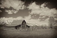 Mormon Row Barn And Stable - Grand Tetons, WY - Sepia Black & White