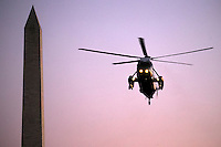 Marine One, with United States President Barack Obama aboard, flies near the Washington Monument on approach to the South Lawn of the White House in Washington, DC, USA, 09 October 2016. President Obama is returning from a weekend in Chicago.<br /> Credit: Shawn Thew / Pool via CNP /MediaPunch