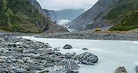 Moody views of Fox Glacier with Fox River, Westland Tai Poutini National Park, West Coast, South Westland, UNESCO World Heritage Area, New Zealand, NZ