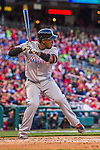 7 April 2016: Miami Marlins infielder Adeiny Hechavarria at bat during the Washington Nationals Home Opening Game at Nationals Park in Washington, DC. The Marlins defeated the Nationals 6-4 in their first meeting of the 2016 MLB season. Mandatory Credit: Ed Wolfstein Photo *** RAW (NEF) Image File Available ***