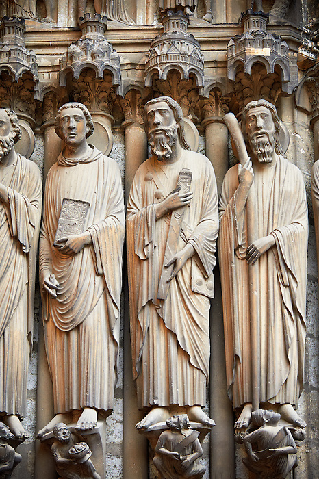 South Porch, central Portal c. 1194-1230,  Cathedral of Notre Dame, Chartres, France. Gothic statues of from left to right they are .Paul, John, James Major and James Minor. A UNESCO World Heritage Site. .