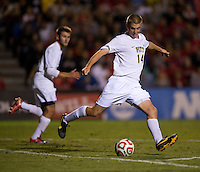Kevin Murray (14) of Pittsburgh clears the ball during the game at Ludwig Field on the campus of the University of Maryland in College Park, MD.  Maryland defeated Pittsburgh, 2-0.