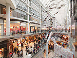 Eaton Centre largest shopping mall in downtown Toronto full of people on Boxing day in 2011. Ontario, Canada.