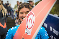 BELLS BEACH, Victoria/AUS (Saturday, March 26, 2016) Brisa Hennessy (HAW) - Action at the Rip Curl Pro Bells Beach, the second stop on the World Surf League (WSL) Championship Tour (CT), continued today with the remaining six heats of Round 1, Round two and Round three of the Women's.<br /> There were light West to South West winds through the day with the swell in the 4'-6' range.<br /> <br /> Bells Beach has been hosting surfing tournaments for more than 50 years now, making it the most renowned spot on the raw and rugged southern coast of Victoria, Australia. The list of  Rip Curl Pro event champions is a veritable who's who of surfing icons, including many world champions.<br /> <br /> Surfing's greats have a way of dominating Bells. Mark Richards, Kelly Slater, and Mick Fanning all have four Bells trophies; Michael Peterson and Sunny Garcia, three; While Simon Anderson, Tom Curren, Joel Parkinson, Andy Irons, and Damien Hardman each grabbed a pair.<br /> <br /> The story is similar on the women's side. Lisa Andersen and Stephanie Gilmore have four Bells titles; Layne Beachley and Pauline Menczer, three; while Kim Mearig and Sally Fitzgibbons each have two.<br /> <br /> The 2016 event is about to kick off tomorrow and there was a packed warm up session at Bells this morning. <br /> Photo: joliphotos.com