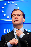 President of Russia Dmitry Medvedev holds a press conference after the  EU - Russia summit at European Council headquarters  in  Brussels, Belgium on 2010-12-07   by Wiktor Dabkowski