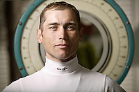 Jockey Garrett Gomez poses for the photographer at the race track in Saratoga Springs, NY, USA, 14 August 2006.