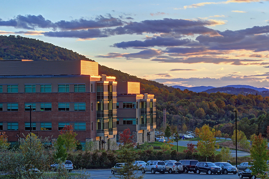 The sun sets over Martha Jefferson Hospital in Charlottesville, VA. Photo/Andrew Shurtleff
