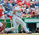 12 April 2012: Cincinnati Reds first baseman Joey Votto in action against the Washington Nationals at Nationals Park in Washington, DC. The Nationals defeated the Reds 3-2 in 10 innings to take the first game of their 4-game series. Mandatory Credit: Ed Wolfstein Photo