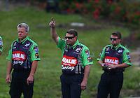 May 20, 2016; Topeka, KS, USA; Rob Wendland , crew chief for NHRA top fuel driver Terry McMillen during qualifying for the Kansas Nationals at Heartland Park Topeka. Mandatory Credit: Mark J. Rebilas-USA TODAY Sports
