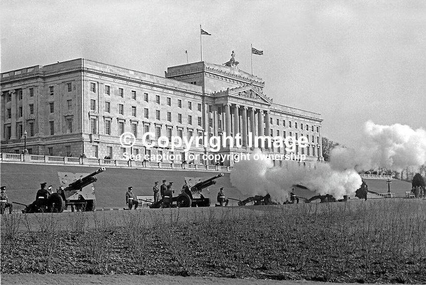 The anniversary of the accession of Queen Elizabeth II is marked by a 21 gun salute at Parliament Buildings, Stormont, Belfast, N Ireland, 6th February 1974. 197402060058f<br />