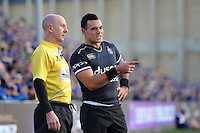 Kahn Fotuali'i of Bath Rugby speaks with an assistant referee during a break in play. European Rugby Challenge Cup match, between Bath Rugby and Pau (Section Paloise) on January 21, 2017 at the Recreation Ground in Bath, England. Photo by: Patrick Khachfe / Onside Images