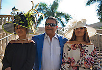HALLANDALE BEACH, FL - JAN 28: Fans dress in style and shows off a fashionable hat during Pegasus World Cup Invitational Day at Gulfstream Park Race Course on January 28, 2017 in Hallandale Beach, Florida. (Photo by Doug DeFelice/Eclipse Sportswire/Getty Images)