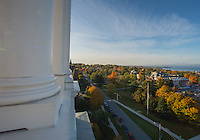 Aerial view of the UVM Green from the Ira Allen Belltower, Fall UVM Campus