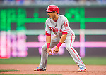 28 April 2016: Philadelphia Phillies second baseman Cesar Hernandez takes a lead off first base during the 5th inning against the Washington Nationals at Nationals Park in Washington, DC. The Phillies shut out the Nationals 3-0 to sweep their mid-week, 3-game series. Mandatory Credit: Ed Wolfstein Photo *** RAW (NEF) Image File Available ***