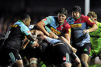 Charlie Matthews of Harlequins in action at a maul. Aviva Premiership match, between Harlequins and Sale Sharks on November 6, 2015 at the Twickenham Stoop in London, England. Photo by: Patrick Khachfe / Onside Images