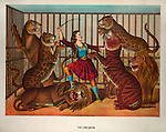 Vintage Illustration: The lion queen. Print showing a woman lion-tamer in a cage with several lions and tigers. CREATED/PUBLISHED:  c1874..