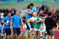 Argentina U20 players celebrate after the match. World Rugby U20 Championship 3th Place Play-Off between Argentina U20 and South Africa U20 on June 25, 2016 at the AJ Bell Stadium in Manchester, England. Photo by: Patrick Khachfe / Onside Images