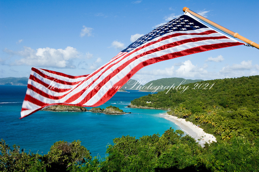 American flag over Trunk Bay.Virgin Islands National Park