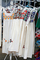 Embroidered white dresses for sale in Playa del Carmen, Riviera Maya, Quintana Roo, Mexico.