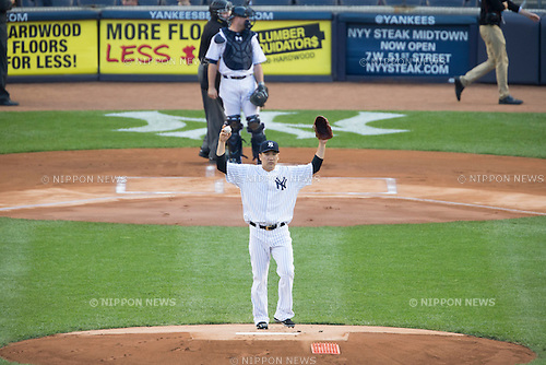 Masahiro Tanaka (Yankees),<br /> JUNE 9, 2015 - MLB :<br /> Pitcher Masahiro Tanaka of the New York Yankees stands on the mound during the Major League Baseball game against the Washington Nationals at Yankee Stadium in the Bronx, New York, United States. (Photo by Thomas Anderson/AFLO) (JAPANESE NEWSPAPER OUT)