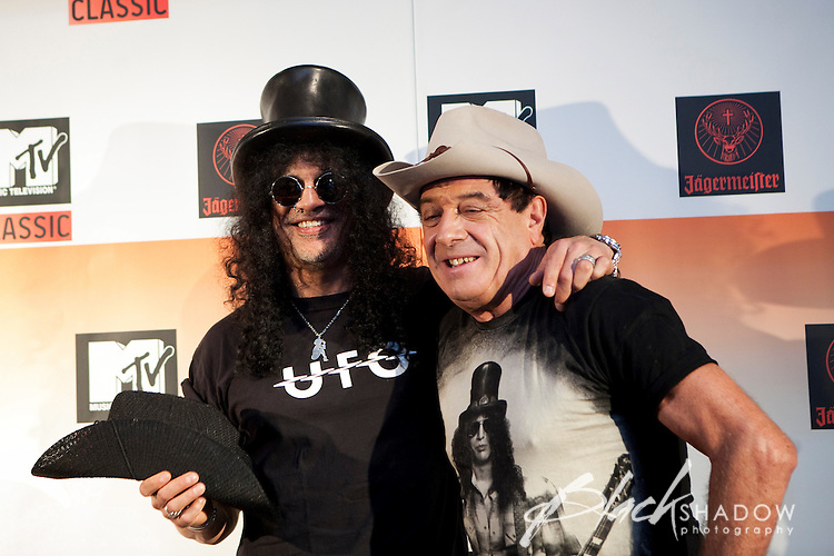 "Slash and Ian ""Molly"" Meldrum at the media call for the MTV Classic launch at Maze Restaurant, Crown Metropole, Melbourne, 27 April 2010"