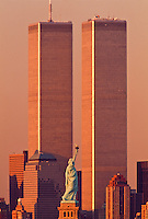 Statue of Liberty Between Twin Towers, World Trade Center at Sunset, New York City, New York, designed Minoru Yamasaki