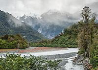 Moody views of Franz Josef Glacier valley with Waiho River, Westland Tai Poutini National Park, West Coast, South Westland, UNESCO World Heritage Area, New Zealand, NZ