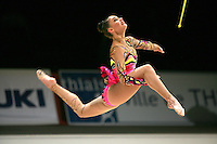 Alina Kabaeva of Russia split leap with clubs beforeatFrance on March 24, 2007.