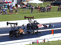 Apr 23, 2017; Baytown, TX, USA; NHRA top fuel driver Steve Torrence (right) races alongside Shawn Reed during the Springnationals at Royal Purple Raceway. Mandatory Credit: Mark J. Rebilas-USA TODAY Sports