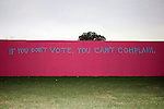 St. Louis, MO, USA, 20041008: A Grafitti on a wall outside the University says &quot;If you don't vote you can't complain,&quot; during the second Presidential Debate held at Washington University in St. Louis.<br />