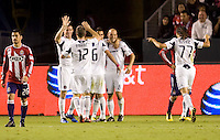 Freddie Ljungberg of the Chicago Fire celebrates his goal with teammates. The Chicago Fire defeated CD Chivas USA 3-1 at Home Depot Center stadium in Carson, California on Saturday October 23, 2010.