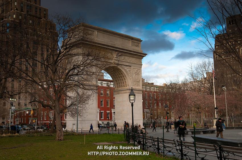 Dark rainy clouds over Washington Square Arch, Manhattan, New York