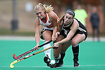 09 November 2014: Syracuse's Kati Nearhouse (left) and Wake Forest's Shannon Eby (CAN) (right). The Wake Forest University Demon Deacons played the Syracuse University Orange at Jack Katz Stadium in Durham, North Carolina in the 2014 Atlantic Coast Conference NCAA Division I Field Hockey Championship Game. Wake Forest won the ACC Championship game 2-0.