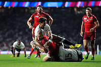 Mike Brown of England dives for the try-line. Rugby World Cup Pool A match between England and Fiji on September 18, 2015 at Twickenham Stadium in London, England. Photo by: Patrick Khachfe / Onside Images