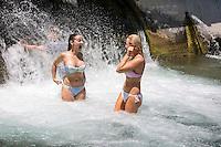 Barton Creek Spillway - scenic Zilker Park swimmers, canoers, kayakers Stock Photo Image Gallery
