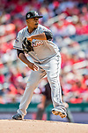 3 April 2017: Miami Marlins pitcher Edinson Volquez on the mound against the Washington Nationals on Opening Day at Nationals Park in Washington, DC. The Nationals defeated the Marlins 4-2 to open the 2017 MLB Season. Mandatory Credit: Ed Wolfstein Photo *** RAW (NEF) Image File Available ***