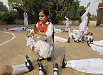 Students in a physical education class in the Lucie Harrison Girls High School in Lahore, run by the Church of Pakistan.