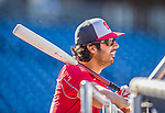 22 August 2015: Washington Nationals pitcher Gio Gonzalez awaits his turn in the batting cage prior to a game against the Milwaukee Brewers at Nationals Park in Washington, DC. The Nationals defeated the Brewers 6-1 in the second game of their 3-game weekend series. Mandatory Credit: Ed Wolfstein Photo *** RAW (NEF) Image File Available ***