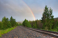 After afternoon and evening rains had fallen, this rainbow appeared over the traintracks in Winter Park, Colorado. It was almost sunset, so I was surprised at the appearance of this beautiful sight.