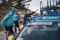 Team Astana preparing for the 2017 season on the Coll de Rates (alt 626m/Alicante/Spain) in january and showing an original sticker on the windshield