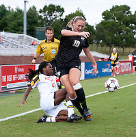 Hayley Brock (27) of Maryland collides with Kim Marshall (10) of Wake Forest during the game at Ludwig Field in College Park, MD.  Maryland defeated Wake Forest, 1-0.