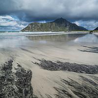 Patterns in sand at Skagsanden beach, Lofoten Islands, Norway