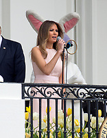First lady Melania Trump makes opening remarks as she and United States President Donald J. Trump host the annual Easter Egg Roll on the South Lawn of the White House in Washington, DC on Monday, April 17, 2017.<br /> CAP/MPI/CNP/RS<br /> &copy;RS/CNP/MPI/Capital Pictures