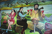 "A ""gypsy life"" scene painted on the wall of a Roma home, in the new part of the Sintesti Roma camp. ."