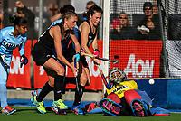 Madison Doar (L) Kelsey Smith attack the goal during the international hockey match between the Blacksticks Women and India, Rosa Birch Park, Pukekohe, New Zealand. Sunday 14  May 2017. Photo:Simon Watts / www.bwmedia.co.nz