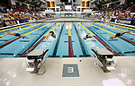 26 MAR 2011:  Swimmers leave the starting blocks at the beginning of the 100 Yard Freestyle during the Division I Men's Swimming and Diving Championship held at the University of Minnesota Aquatics Center in Minneapolis, MN. Nathan Adrian swam a 41.10 to win the event.  Carlos Gonzalez/ NCAA Photos