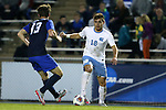 28 November 2015: North Carolina's Alan Winn (18) and Creighton's Noah Franke (13). The University of North Carolina Tar Heels hosted the Creighton University Bluejays at Fetzer Field in Chapel Hill, NC in a 2015 NCAA Division I Men's Soccer Tournament Third Round match. Creighton won the game 1-0.